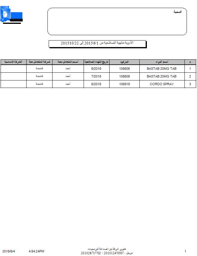 برنامج إدارة الصيدليات فارماكير - تقرير الأدوية المنتهية الصلاحية خلال فترة