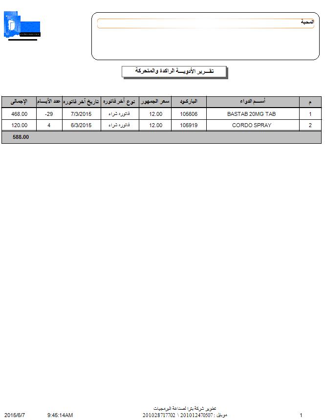 برنامج إدارة الصيدليات فارماكير - تقرير الأصناف الراكدة والمتحركة